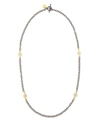 Short Gold Station Cable Chain Necklace 18'L Armenta