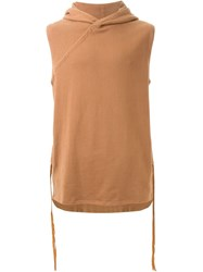 Mhi Maharishi Sleeveless Hoodie Brown
