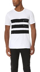 Quality Peoples Surf Stripes Pocket Tee White