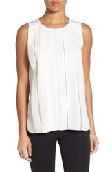 Classiques Entierr Petite Women's Entier Sheer Overlay Sleeveless Stretch Silk Blouse Ivory Cloud