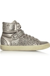 Ash Sandy Studded Metallic Leather Wedge Sneakers