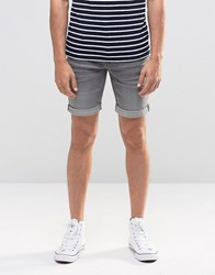 Blend Of America Twister Slim Denim Shorts Grey Washed Grey