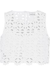 Miguelina Ruby Cropped Crocheted Cotton Top White