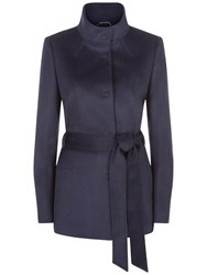 Jaeger Wool Funnel Neck Coat Midnight