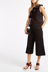 Msgm Ruffle One Shoulder Top Black