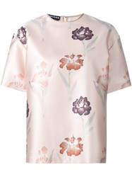 Rochas Floral Print T Shirt Pink And Purple