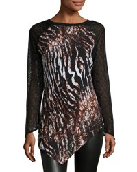 Alberto Makali Asymmetric Animal Print Tunic Brown