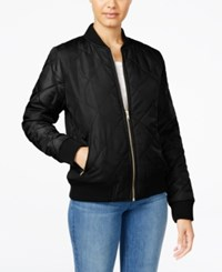 Say What Juniors' Quilted Bomber Jacket Black