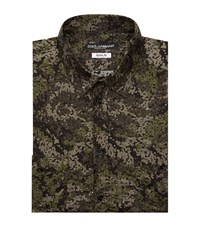 Dolce And Gabbana Camouflage Military Shirt Male Forest