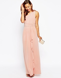 Asos Petite Wedding One Shoulder Sexy Slinky Maxi Dress Peach