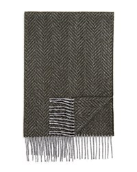 Bloomingdale's The Men's Store At Cashmere Herringbone Scarf Olive Grey