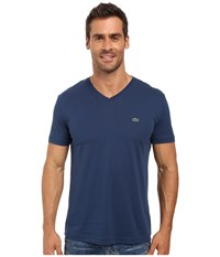 Lacoste Short Sleeve V Neck Pima Jersey Tee Shirt Philippines Blue Men's T Shirt