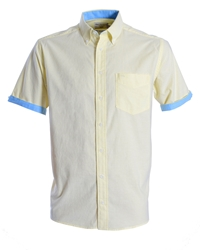 Double Two Plain Classic Fit Button Down Shirt Yellow