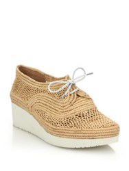 Robert Clergerie Lace Up Raffia Platform Wedge Loafers
