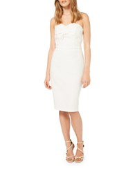 Miss Selfridge Front Bow Jacquard Bandeau Pencil Dress White