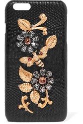 Dolce And Gabbana Crystal Embellished Lizard Effect Leather Iphone 6 Plus Case Black