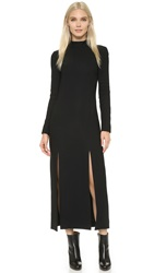 Wes Gordon Double Slit Column Dress Black