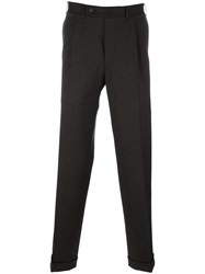 Canali Pleated Tapered Trousers Brown