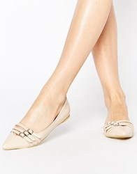 Park Lane Buckle Strap Point Flat Shoes Beige