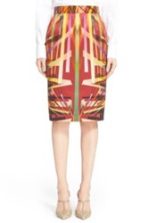 Escada Print Cotton And Silk Pencil Skirt Red
