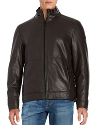 Calvin Klein Sherpa Lined Faux Leather Jacket Heritage Brown