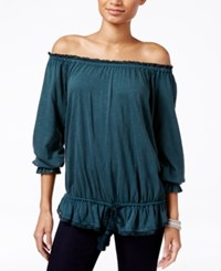 William Rast Grace Off The Shoulder Lace Detail Top Sea Pine