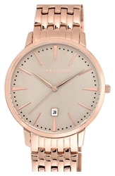 Vince Camuto Round Bracelet Watch 40Mm Rose Gold Grey