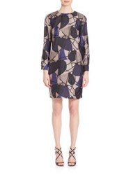 Piazza Sempione Delunay Print Silk Dress Blue Grey