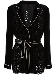 Alberta Ferretti Perforated Detailing Belted Jacket Black