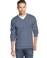 Weatherproof Vintage Solid V Neck Cashmere Blend Sweater Faded Indigo