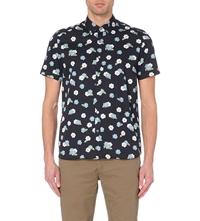 Ted Baker Floral Printed Cotton Shirt Dark Blue