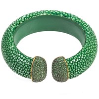 Latelita London Stingray Cuff Gold Emerald Green Gold Green