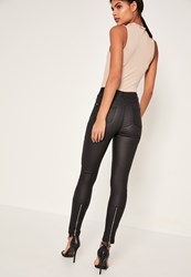 Missguided Black High Waisted Coated Ankle Zip Skinny Jeans
