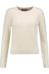 Dkny Cropped Ribbed Knit Sweater Cream