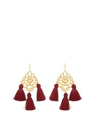 Marte Frisnes Rita Tassel Earrings Burgundy