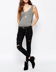 Only All Over Distressed Slashed Ankle Jean Black