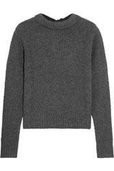 Frame Textured Wool And Cashmere Blend Sweater Dark Gray