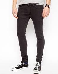Asos Extreme Super Skinny Jeans In Faded Black