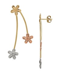 Lord And Taylor 14K Yellow White Rose Gold Flower Drop Earrings Tri Tone