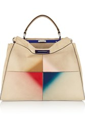 Fendi Peekaboo Large Patent Leather Trimmed Suede Tote
