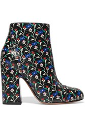 Marc Jacobs Cora Printed Glossed Snake Effect Leather Ankle Boots Black