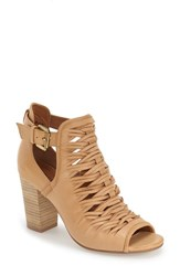 Women's Chinese Laundry 'Tatiana' Open Toe Bootie Cognac Leather