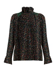 Vanessa Bruno Florence Floral Print Pleated Crepe Blouse Black Multi