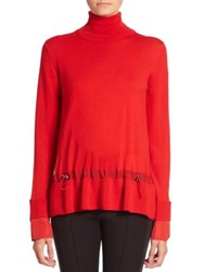 Moncler Ruffle Hem Wool Sweater Red Black