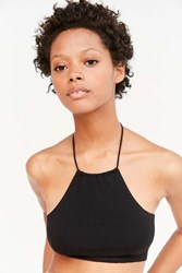 Out From Under Ali Cotton High Neck Halter Bra Black