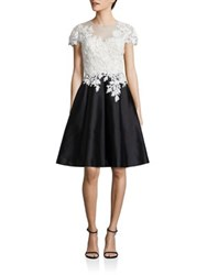 Rickie Freeman For Teri Jon Fit And Flare Floral Lace Dress White Black