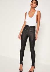 Missguided Black Coated Biker Skinny Jeans