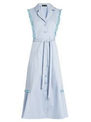 Anna October Ruffle Trimmed Midi Shirtdress Light Blue