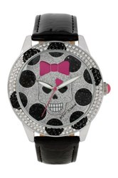 Betsey Johnson Women's Polka Dot Skull Faux Leather Strap Watch Black