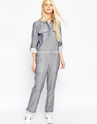 Asos Chambray All Over Star Print Jumpsuit Multi